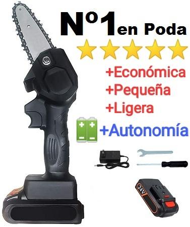 Motosierra poda bateria online 4 pulgadas + 1 bateria litio + cargador + kit herramientas