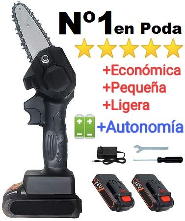 Motosierra poda bateria online 4 pulgadas + 2 baterias litio + cargador + kit herramientas