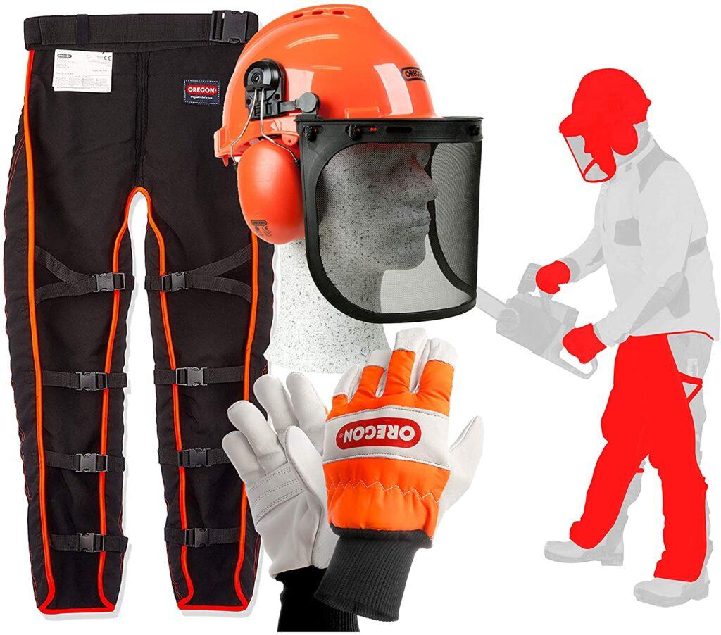 Kit ropa protección motosierra, pantalones + guantes + casco